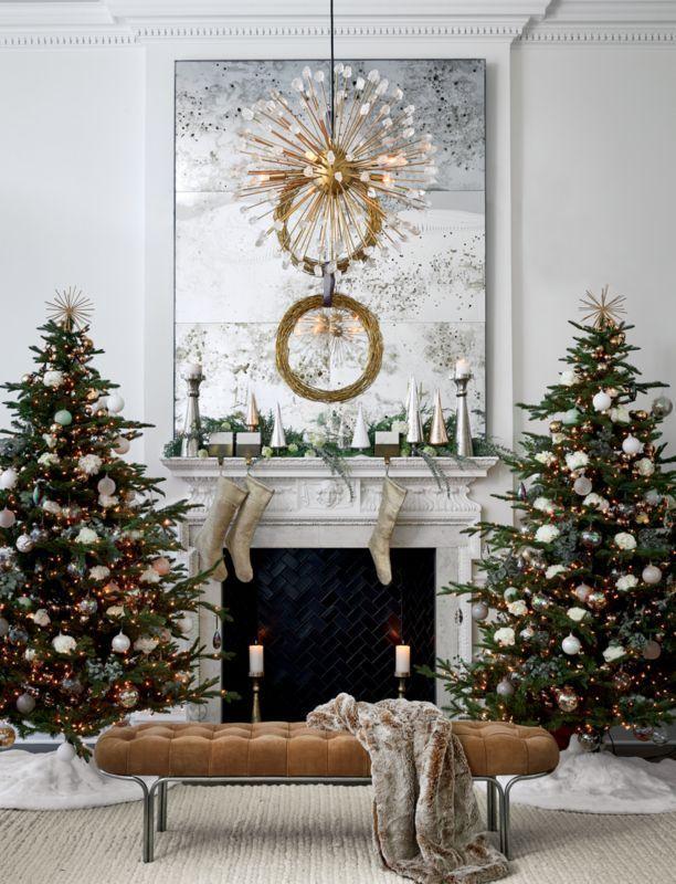 Paz Clear And White Glass Trees Set Of 4 Christmas Fireplace Decor Christmas Mantel Decorations Modern Christmas Decor