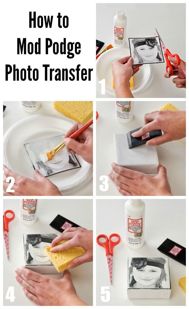 How to do a DIY photo transfer with mod podge #plaidcrafts: