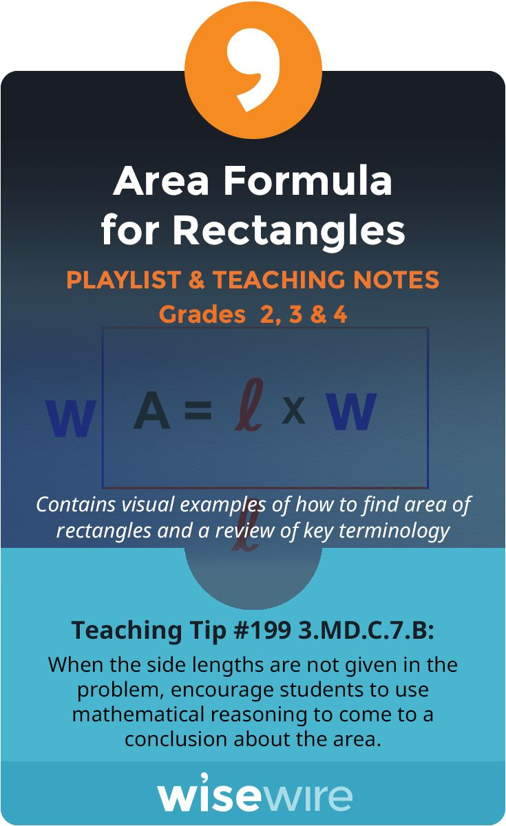 In this playlist, students explore standard 3.MD.C.7B. They will apply the area formula for rectangles with whole-number side lengths. Students will apply mathematical reasoning to find the length of a side when given the whole number area of a rectangle. Students also have the option to view instructional videos and complete practice quizzes or activities. @WisewireEd
