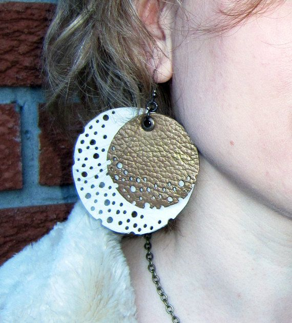 Large Circles Leather Earrings by artispartem on Etsy, $19.00