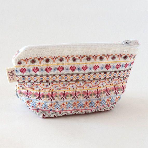 Borduurwerk Kit, Boheemse Boho, Cross Stitch Kit, make-up tas, geometrische borduurwerk, bloem stof, moderne Cross Stitch, geborduurde tas