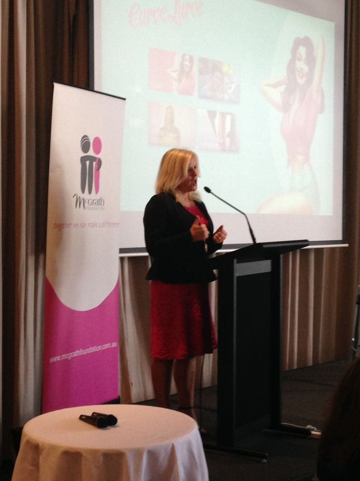 Tracy Bevan speaking about the McGrath Foundation's breast health education initiative, Curve Lurve, at the Brisbane High Tea this past March 2014! #curvelurve #eva #hightea