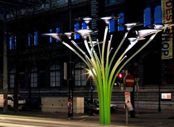 The Solar tree by Ross Lovegrove... The beautiful and ecofriendly 'Solar tree' helps to bring a slice of nature into the grayness of urban environments. Designed for the Museum for Angewandte Kunst in Vienna, this was the first solar tree in the city to provide a street-lighting system powered by solar energy. Artemide, the leading Italian specialist for innovative lighting, in collaboration with Sharp Solar, the global market leader for solar cells engineered the lighting.