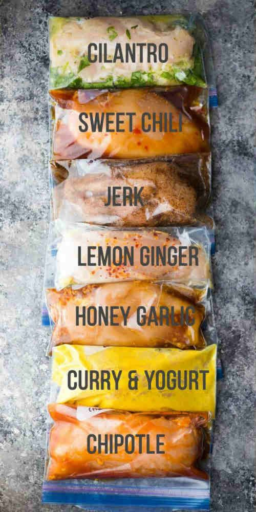 """7 Chicken Marinade Recipes: FREEZER MEALS """"Boneless skinless chicken breasts are pretty much a staple in our weeknight dinner routine, and 90% of the time, we end up baking them in the oven.We've been stuck in a chicken routine lately, and I'm getting a little sick of the same old flavors…so to shake things up, I'm sharing 7 chicken marinade recipes!"""" I love the idea of having some easy to bake suppers all ready for me to bake. All I have to do is thaw them out and either put them on the…"""