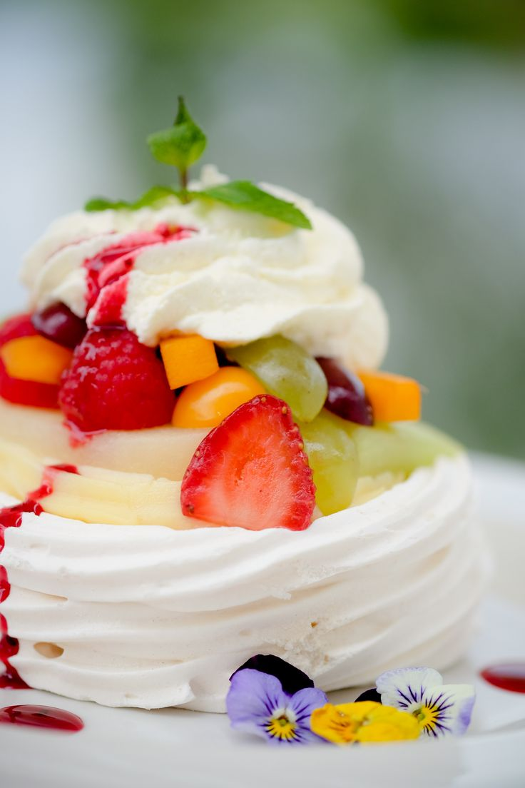Cape berry Pavlovas with crème patisserie and whipped cream