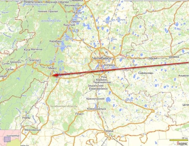 Примерная траектория метеорита, упавшего на Челябинск