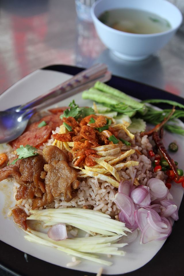 Khao Kluk Kapi (ข้าวคลุกกะปิ)   A Little Known, But Massively Flavorful Thai Dish - http://www.eatingthaifood.com/2013/08/khao-kluk-kapi-thai-dish/