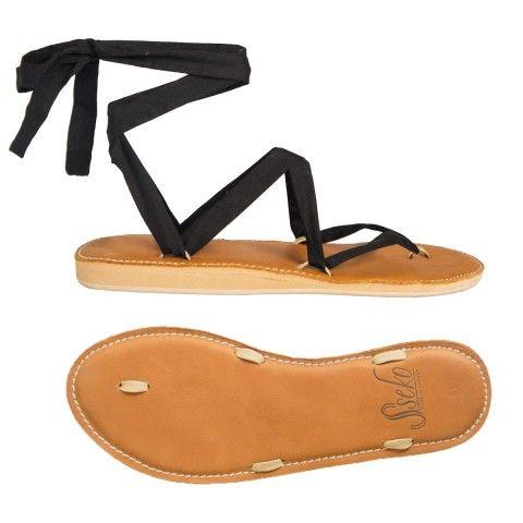 $65 Caramel Leather Stitched Ribbon Sandals | Sseko Designs