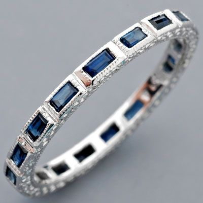 White Gold Baguette Sapphire Eternity Ring Eternity Band / Size 6.75