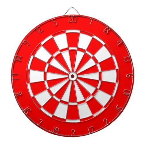 Red and white dart board