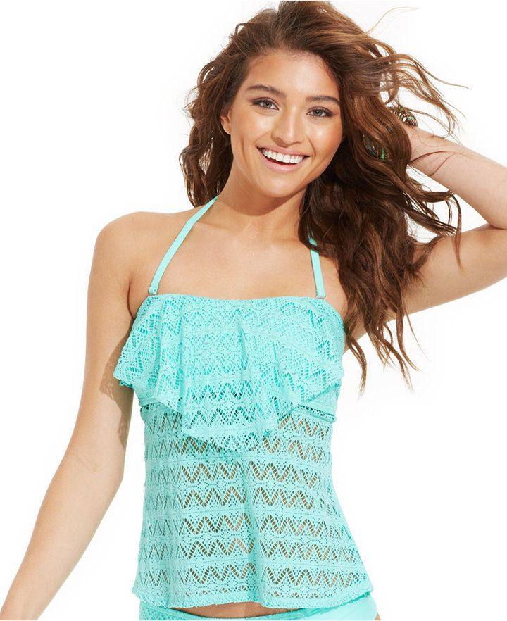Hula Honey Crochet Flounce Bandeau Tankini Top