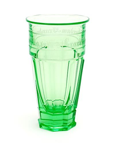 Uranium green glass beaker with 8-sided cut bottom executed on the occasion of Brandweercursus 1928 s'Gravendeel-Leerdam design A.D.Copier executed by Glasfabriek Leerdam / the Netherlands 1928
