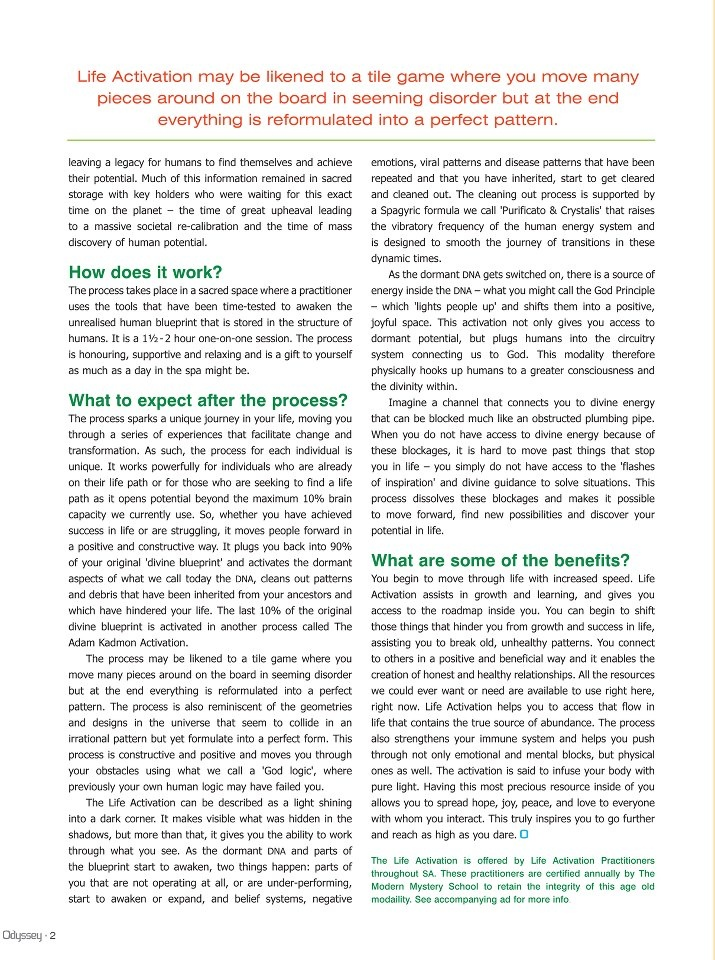 page 2 of the Article - for more information go to www.indigolight.co.za