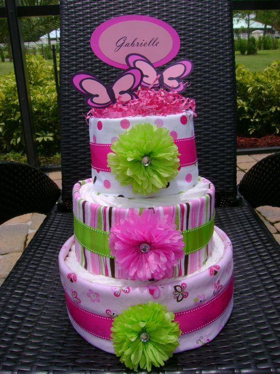 3 Tier Diaper Cake  Green and Pink Butterfly by MakelleDesigns, $60.00