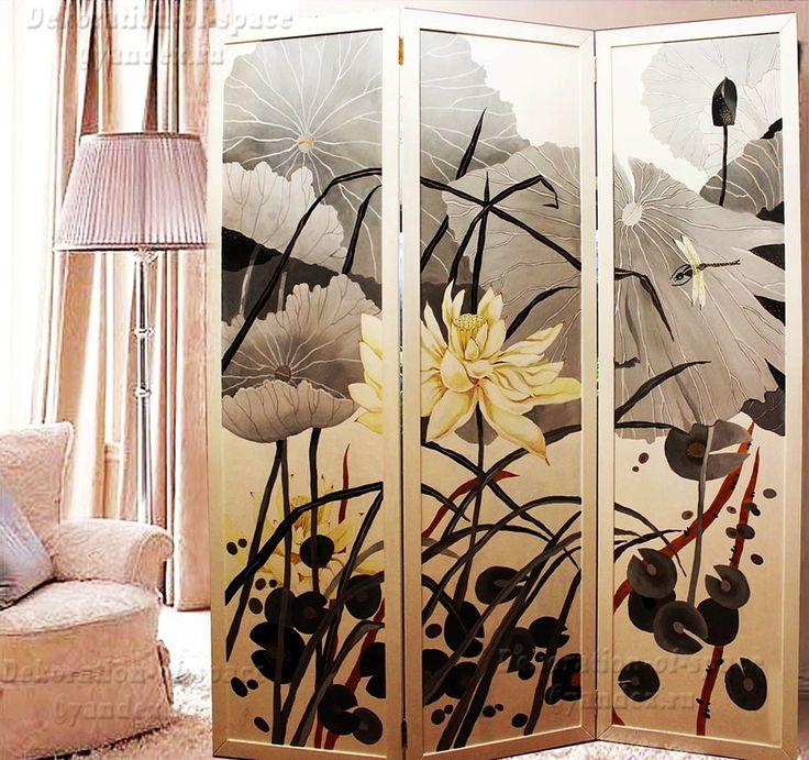 """Ширма-перегородка для интерьера с росписью """"Япония"""" выполнена в традиционном японском стиле. В основе рисунка ручной работы лежат символы Японии."""