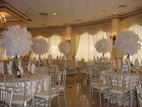 Great gatsby themed centerpiece rentals white ostrich