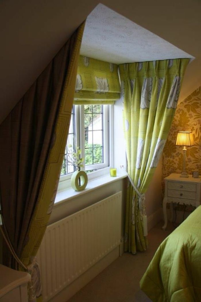 Curtains Ideas Bedroom With Patterned Wallpaper Window Light Green And White Tied Decorative Ropes Bed Spread