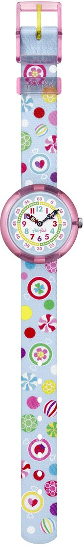 Candy treats flying across the sky in a world where it rains lollipops? Yes please! This is a totally yummy Swiss watch for kids that makes learning to tell the time a delicious experience. And the good news is: it isn't bad for your teeth!
