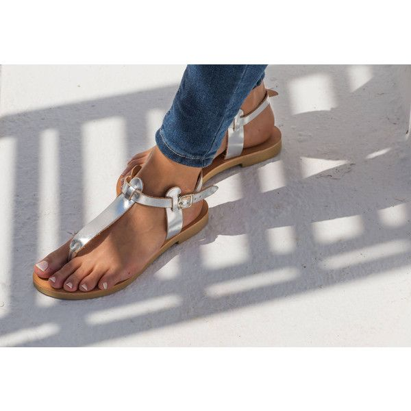 Greek Leather Sandals (685 ZAR) ❤ liked on Polyvore featuring shoes, sandals, silver, women's shoes, leather shoes, genuine leather shoes, leather sandals, tan sandals and tan leather sandals