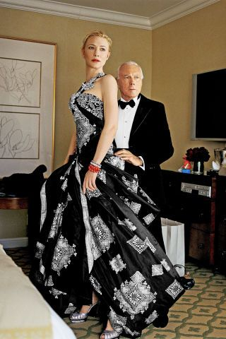 In honor of the designer's 40th anniversary here are his best fashion moments in BAZAAR: 2007, Giorgio Armani and Cate Blanchett.