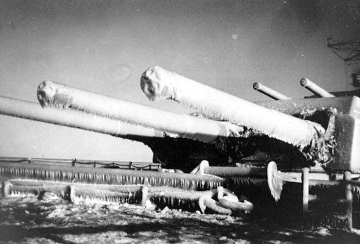 Who wants the real winter? Photo: Scharnhorst's forward guns frozen in ice Baltic Sea circa January 1940.
