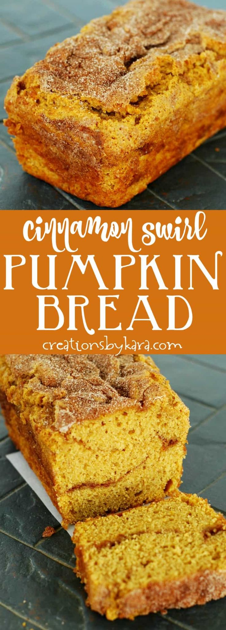 Cinnamon Swirl Pumpkin Bread - moist pumpkin bread with a melted cinnamon sugar ribbon and crackly top. A perfect pumpkin bread recipe!