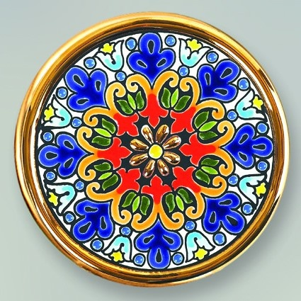 Decorative Plate 11 cms. Handmade in Sevilla.  Isbiliya (Al-Ándalus). Enamels and 24K gold www.madeinandalusia.es
