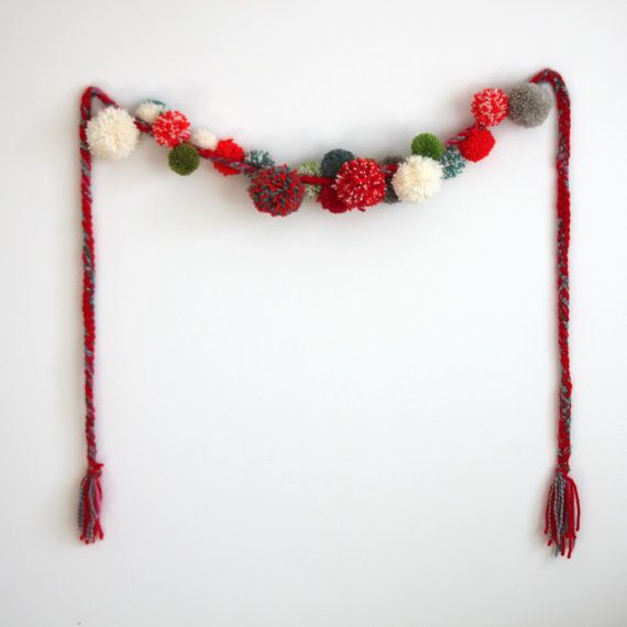 SALE Woodland Pompom yarn garland braided red by GrayDayStudio
