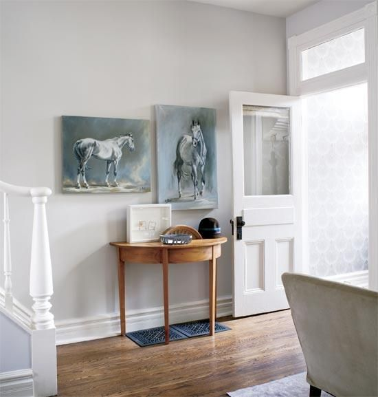 Style at Home - entrances/foyers - Farrow & Ball - Skimming Stone - gray, walls, paint, color, farrow & ball, skimming stone, demilune, console, table, horse, art, jenn pratt, wood, floors, silver, metallic, wallpaper,