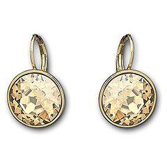 Sparkling Bella Golden Shadow Pierced Earrings #swarovski