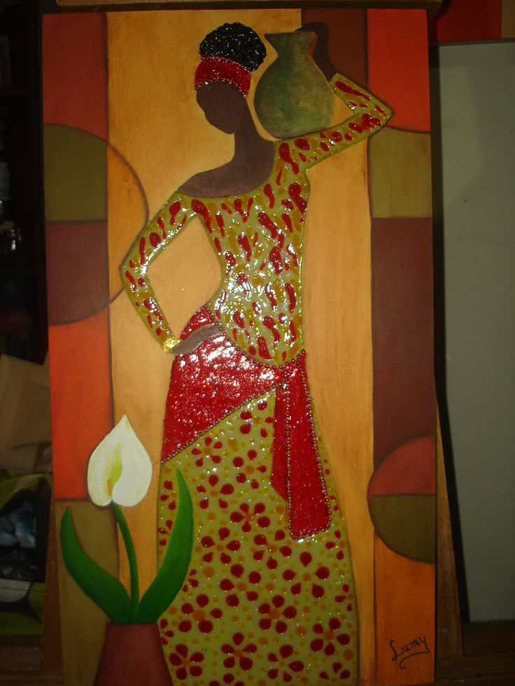 Cuadro decorativo con técnica de jacarelado-efecto mosaico