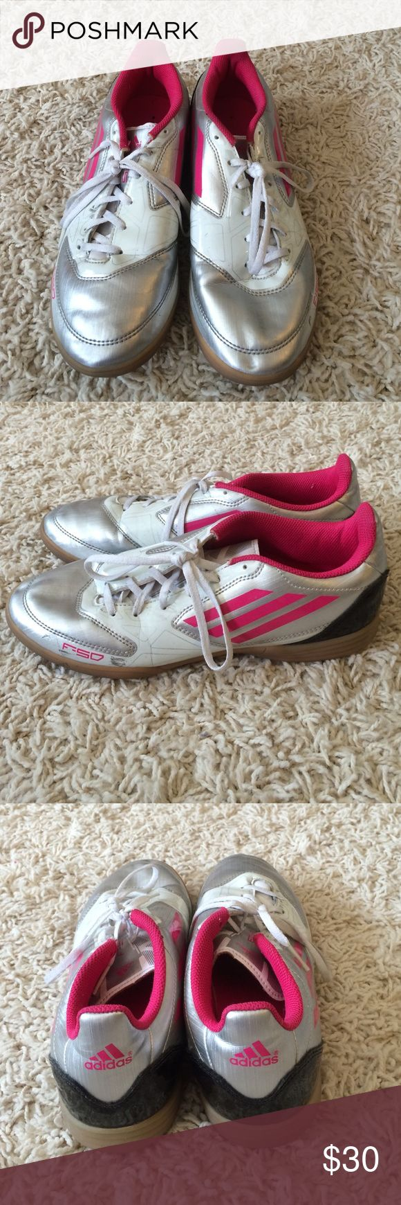 Indoor Soccer shoes These indoor soccer shoes have just a little bit of wear and are perfect for indoor turf. They have hot pink accents as well. Adidas Shoes Athletic Shoes
