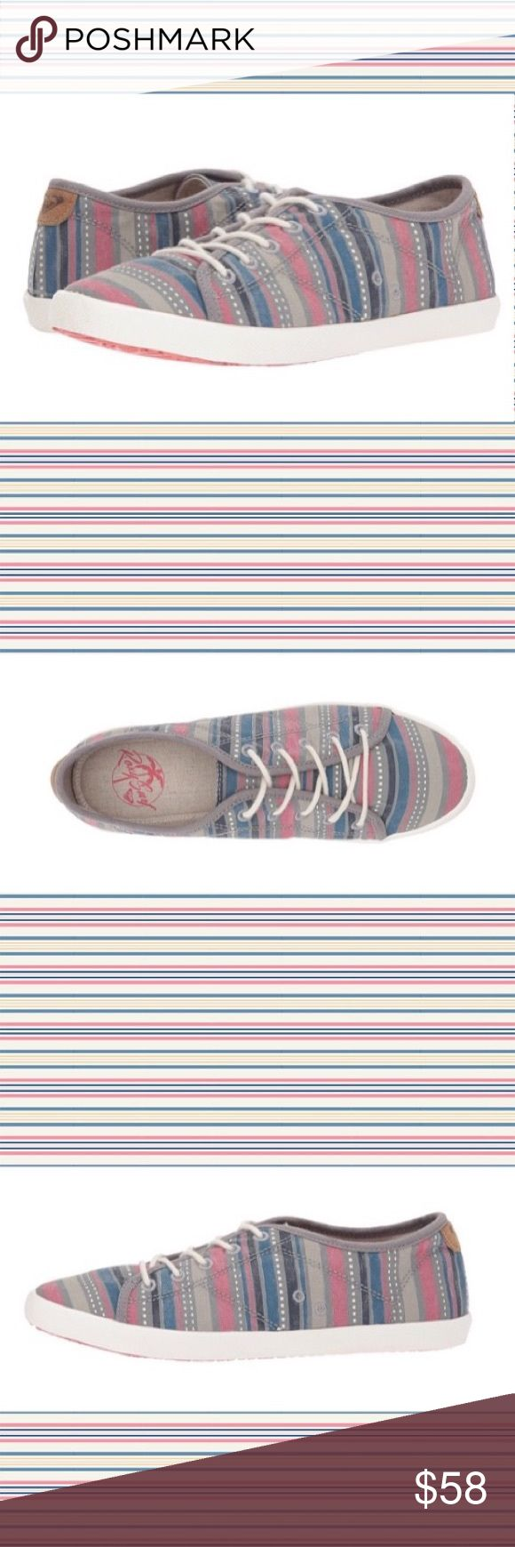"""Roxy multicolored striped pastel """"Memphis"""" sneaker Such a cute tennis shoe for spring! Pastel blue, pinks, and purples combine to form a super cute, subdued statement sneaker from Roxy. Labeled the """"Memphis"""", you won't mind walking in Memphis at all when the Sneakers are this darn adorable. Item is NWT and ships in 3-4 days.   Be Original   Stay Original  Shop @OriginalHailey Roxy Shoes Sneakers"""