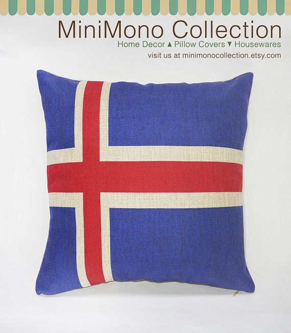 Flag of Iceland Linen Cotton Pillow Cover  by MinimonoCollection