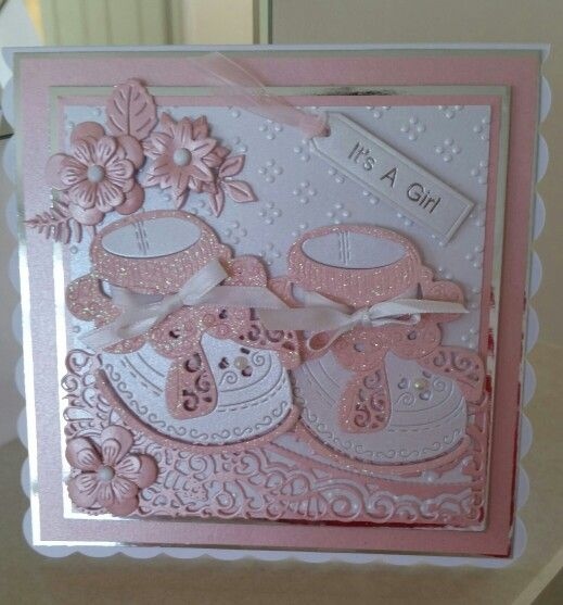 Tattered lace baby card