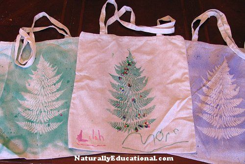 Christmas Tree Fern Prints on Reusable Market Bags | Naturally Educational