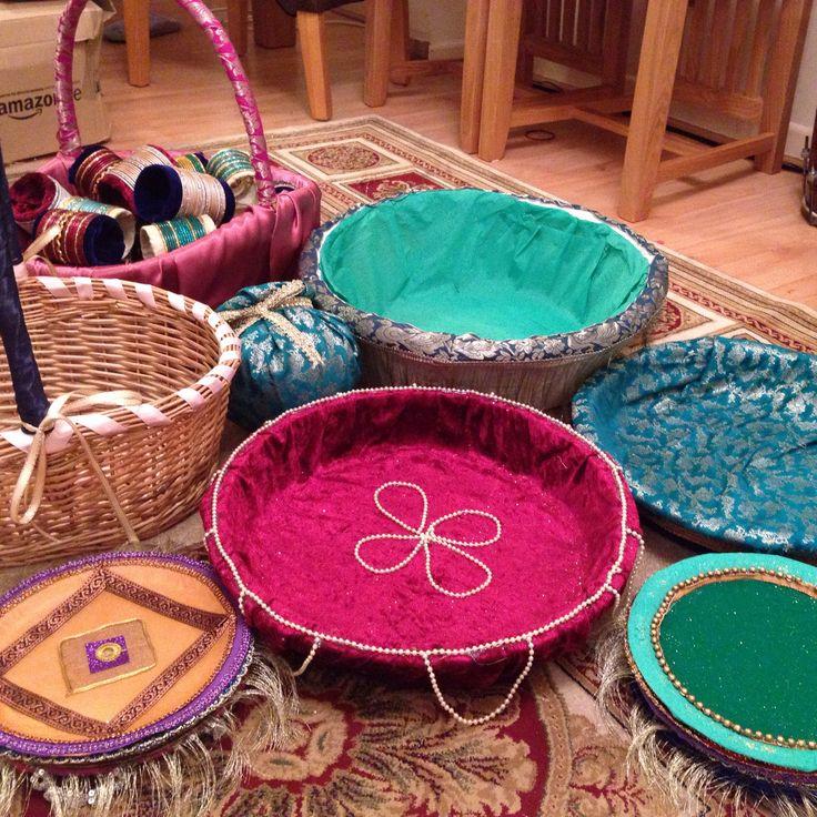 Wedding Gift Decoration Ideas: Homemade Mehndi Thaals And Baskets