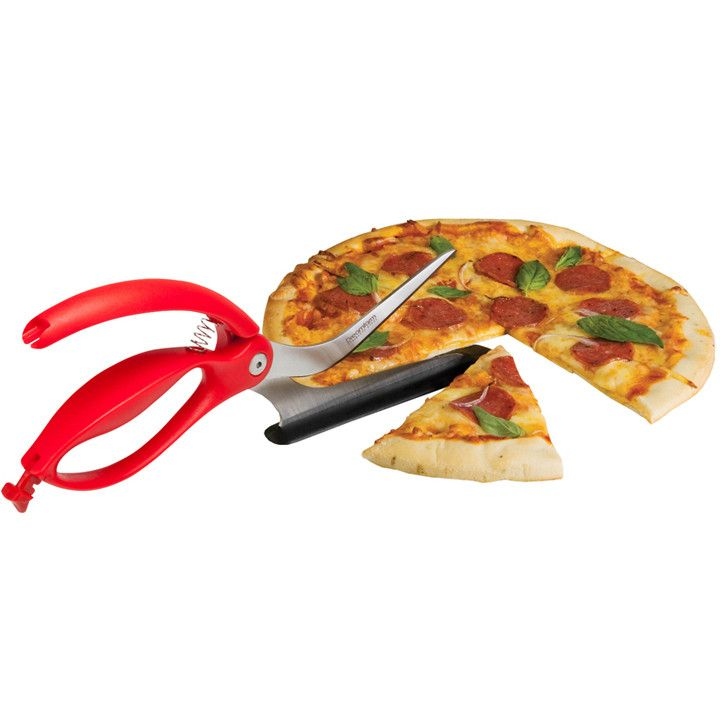 Scizza is a pizza cutter that perfectly slices any pizza on any surface and even serves too. Throw your blunt pizza wheel in the bin, Scizza won't scratch your non-stick pans or dull on pizza stones, and it makes easy work of thick crusts and deep dish pizza too.