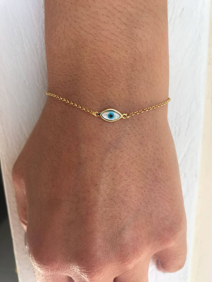 Excited to share the latest addition to my #etsy shop: Tiny Evil Eye Bracelet, Minimal Bracelet, Evil Eye Bracelet, Evil Eye Charm, Protection Bracelet, Made from Sterling SIlver 925. https://etsy.me/2It7Ywo #jewelry #bracelet #gold #yes #no #women #evileyecharm #prote