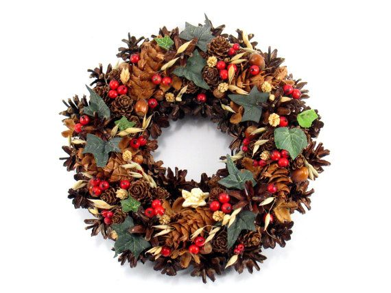 Christmas Wreath, Angel Wreath, Pinecone Wreath, Natural Wreath, Holiday Wreath, Rustic  Wreath,  Door Decor, Hand Made Christmas Wreath,