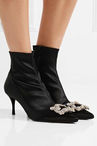 fc8de261ed7 Roger Vivier - Flower Crystal-embellished Silk-satin Sock Boots ...