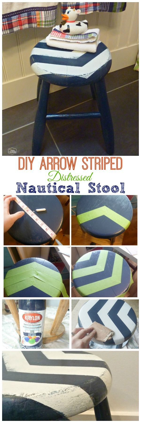 DIY Arrow Striped Distressed Nautical Stool for our Boys Nautical Theme Bathroom - CuTe!!