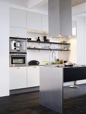 Dark shelves with white kitchen contrast