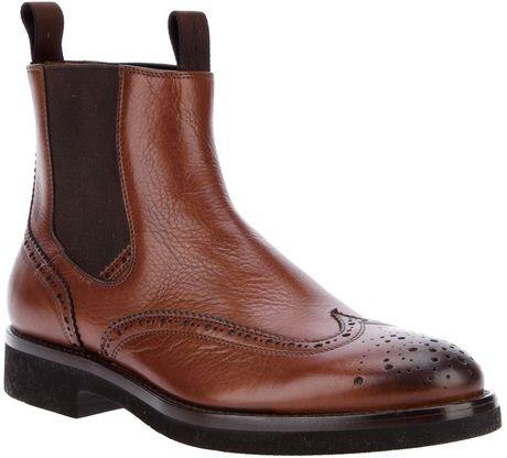 Santoni Brogue Chelsea Boot in Brown for Men $538