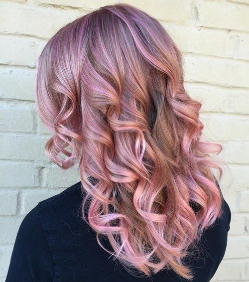 pastel lavender hair color with pink highlights, cool violet pink
