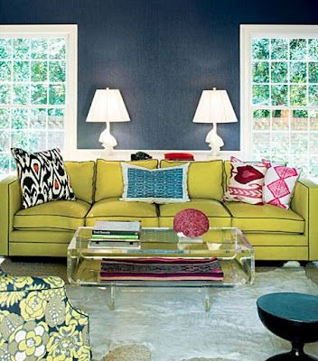 chartreuse sofa, navy piping