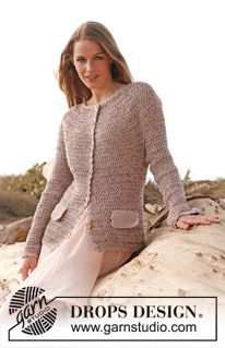 """Crochet DROPS jacket in """"Fabel"""", """"Baby Merino"""" and """"Glitter"""". Size: S - XXXL. ~ DROPS Design, love this."""