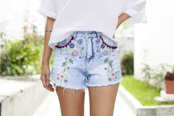 Shorts+boho+com+pompom:+aprenda+a+customizar
