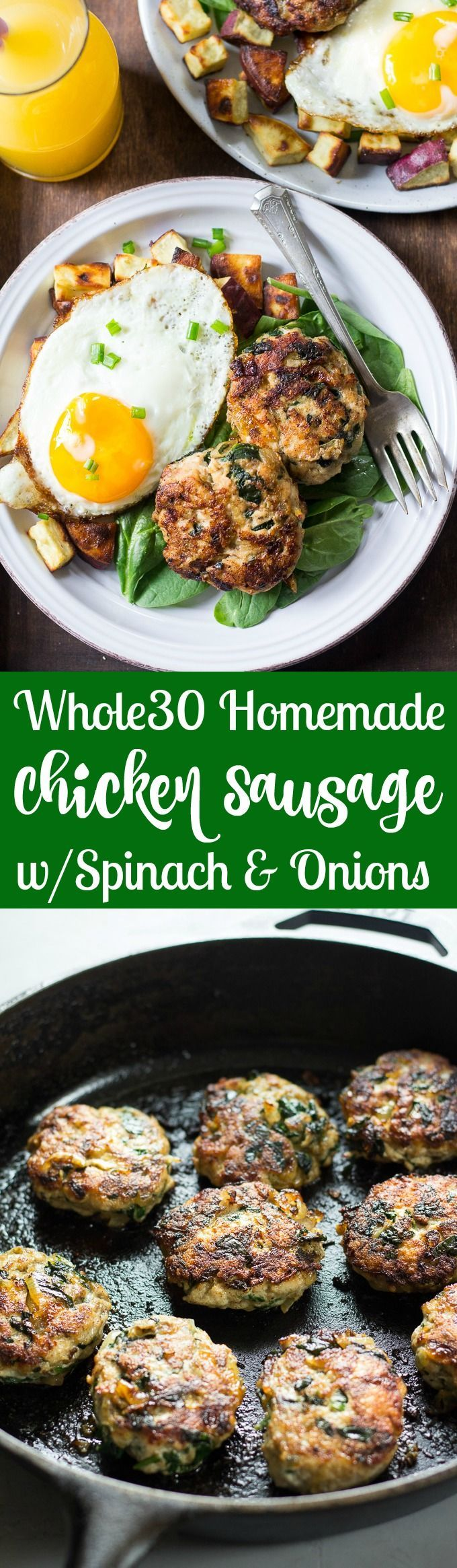 Easy Homemade Chicken Sausage Patties with Spinach and Caramelized Onions that you can make ahead of time and serve with any meal!  They're made with real, whole ingredients and are sugar free, Paleo and Whole30 compliant.