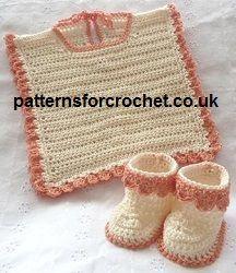 Free baby crochet pattern for Bib and Booties from http://www.patternsforcrochet.co.uk/bib-booties-usa.html #crochet #patternsforcrochet #freebabycrochetpatterns